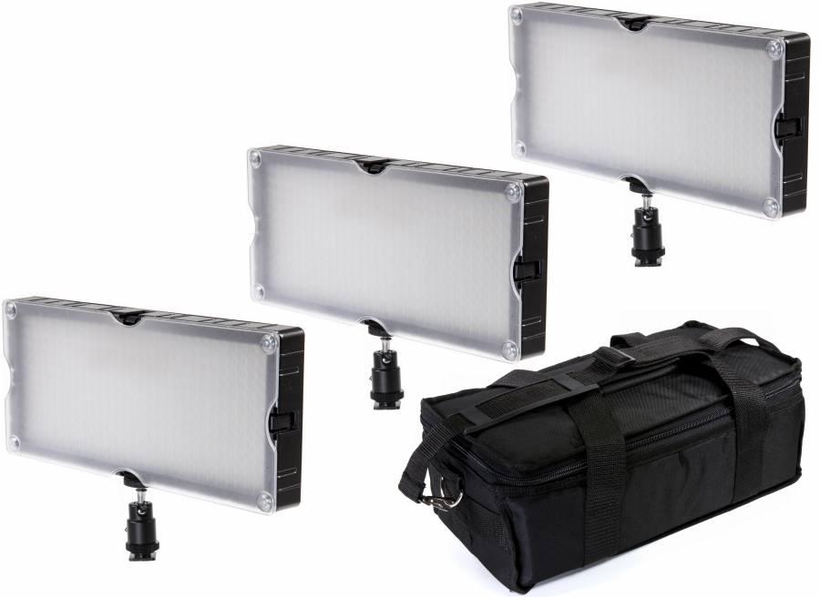 BRESSER SL-360A Bi-Color LED Flächenleuchten 3er Set