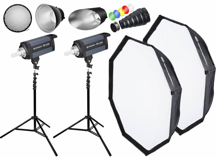 BRESSER Studio Flashes Set: 2x CD-600 + Promotion Package 1