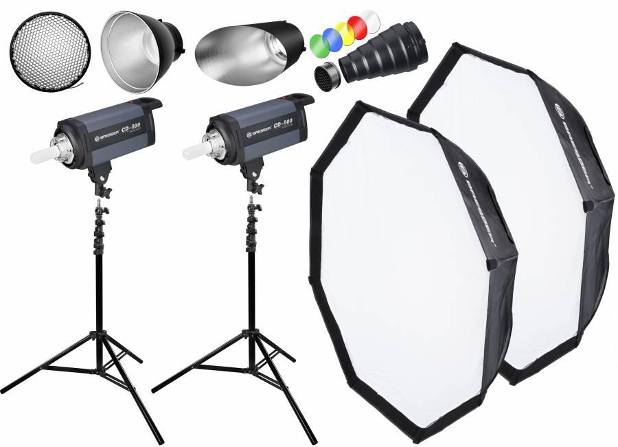 BRESSER Studio Flashes Set: 2x CD-800 + Promotion Package 1
