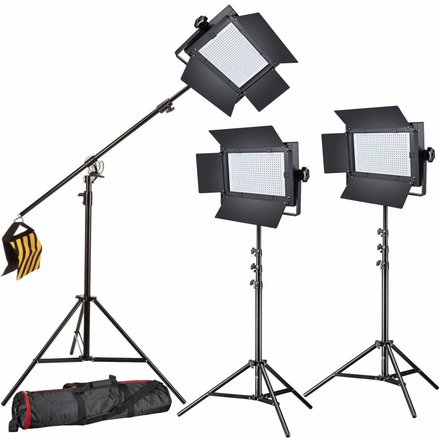 BRESSER LED Photo-Video Set 3x LG-600 38W/5600LUX + 3x Treppiede