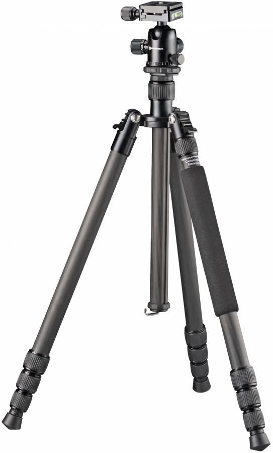 BRESSER BR-2504X8C-B1 Carbon Kamerastativ bis 10 kg verwendbar als Dreibein-, Einbein- und Bodenstativ