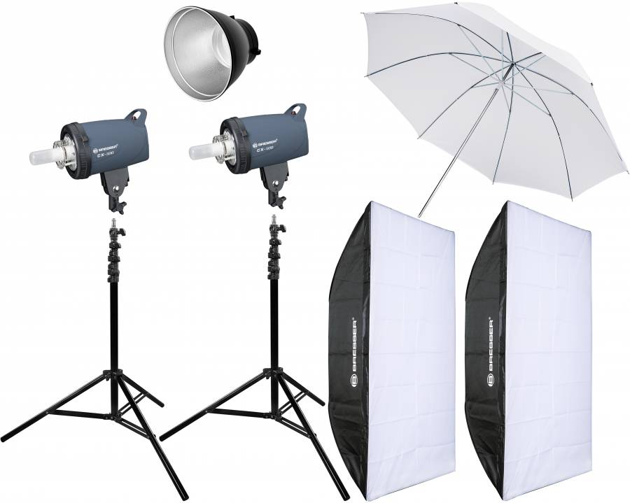 BRESSER Studio Flashes Set: 2x CX-500 + Promotion Package 4