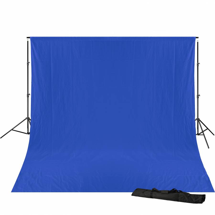 BRESSER BR-D23 Background support + 3x4m Background Cloth blue