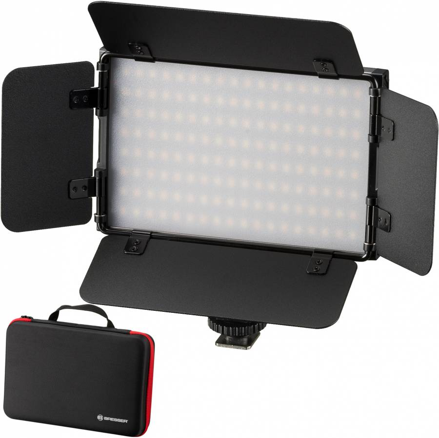BRESSER PT Pro 15B-II Bi-Color LED on-Camera Light with Barndoors, Accumulator and Case