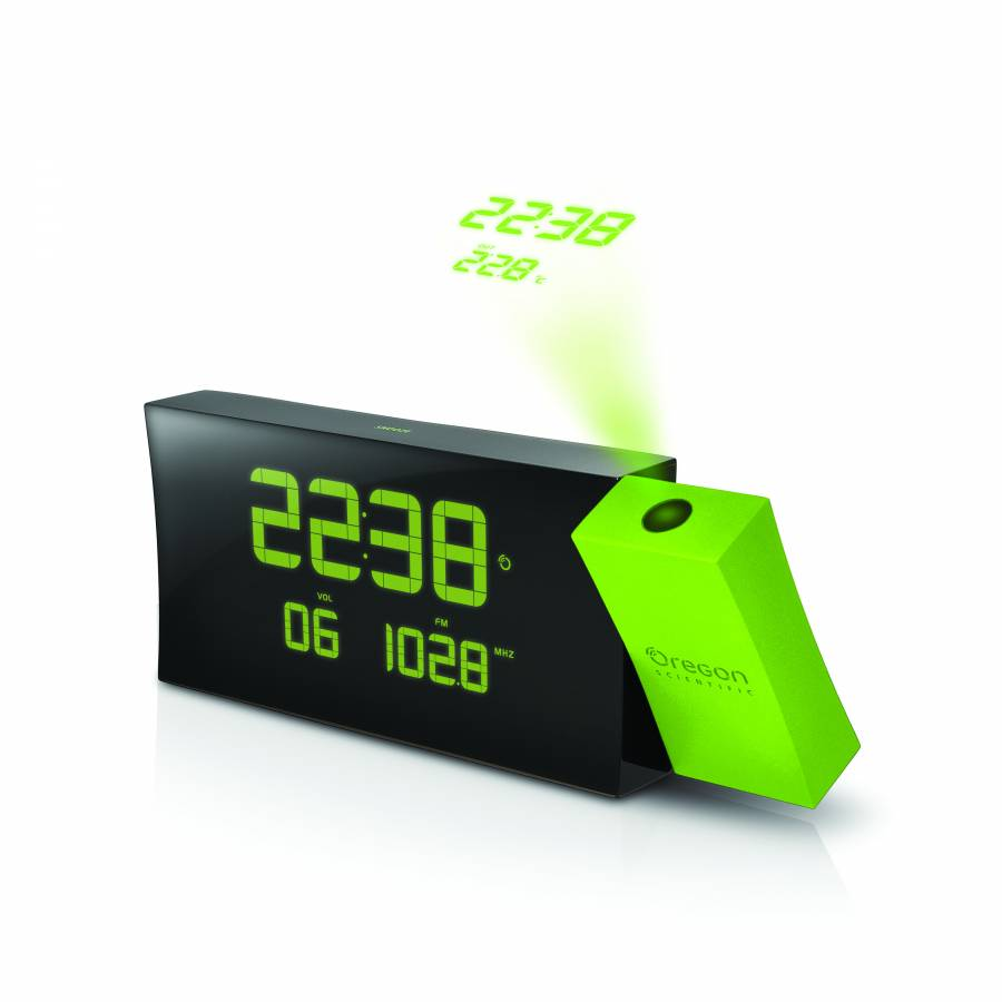 OREGON SCIENTIFIC Prysma projec. clock w. FM-radio RRM222P - green