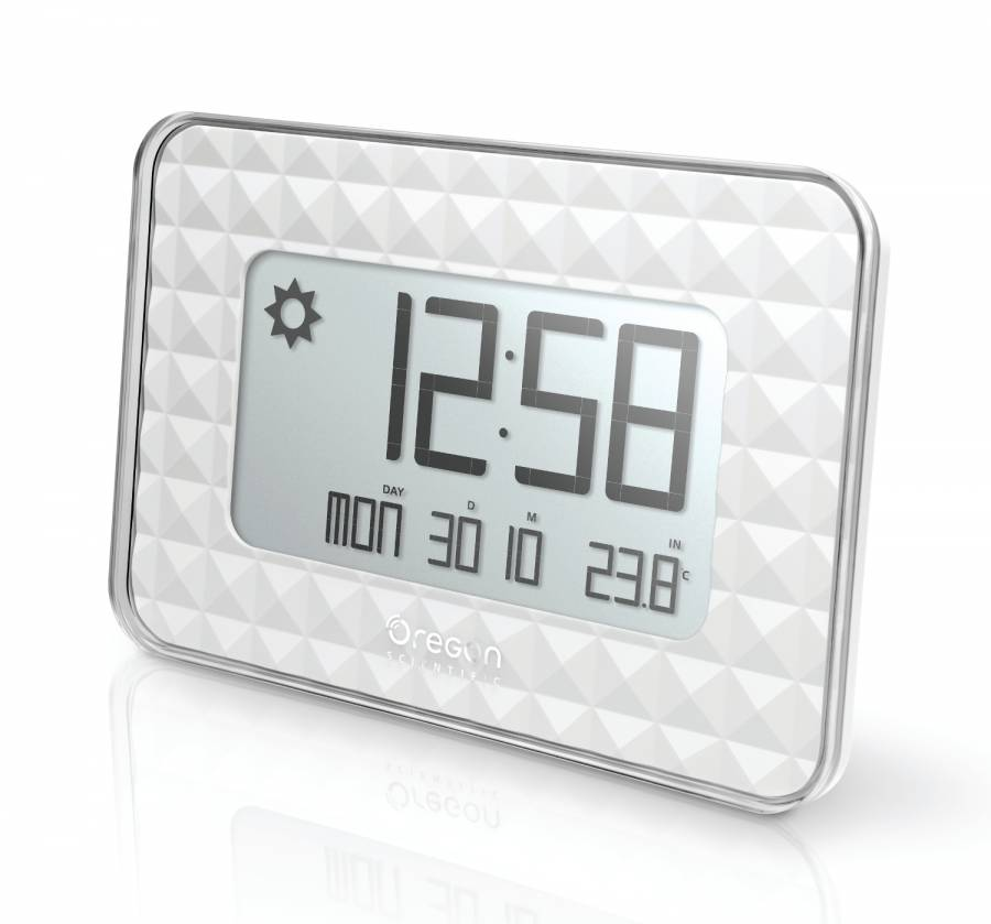 Oregon Scientific radio controlled GLAZE digital wall clock white with weather forecast