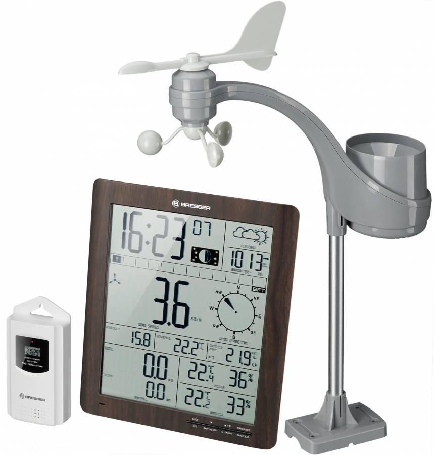 BRESSER ClimaTemp XXL Wetter Center mit 21x24x2,5cm Basisstation in Holzoptik