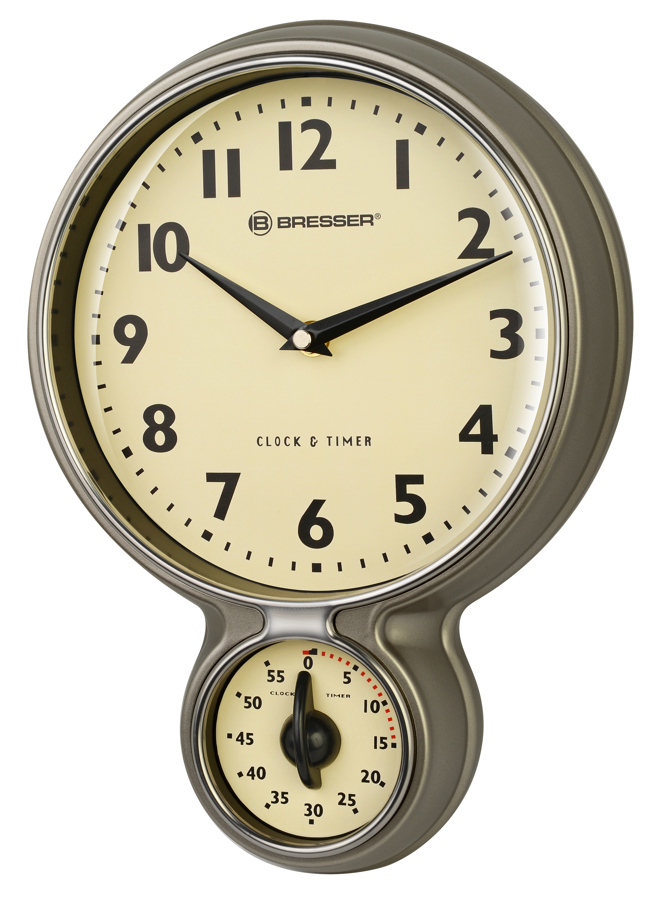 BRESSER MyTime Stainless Steel Retro Kitchen Clock U0026 Timer