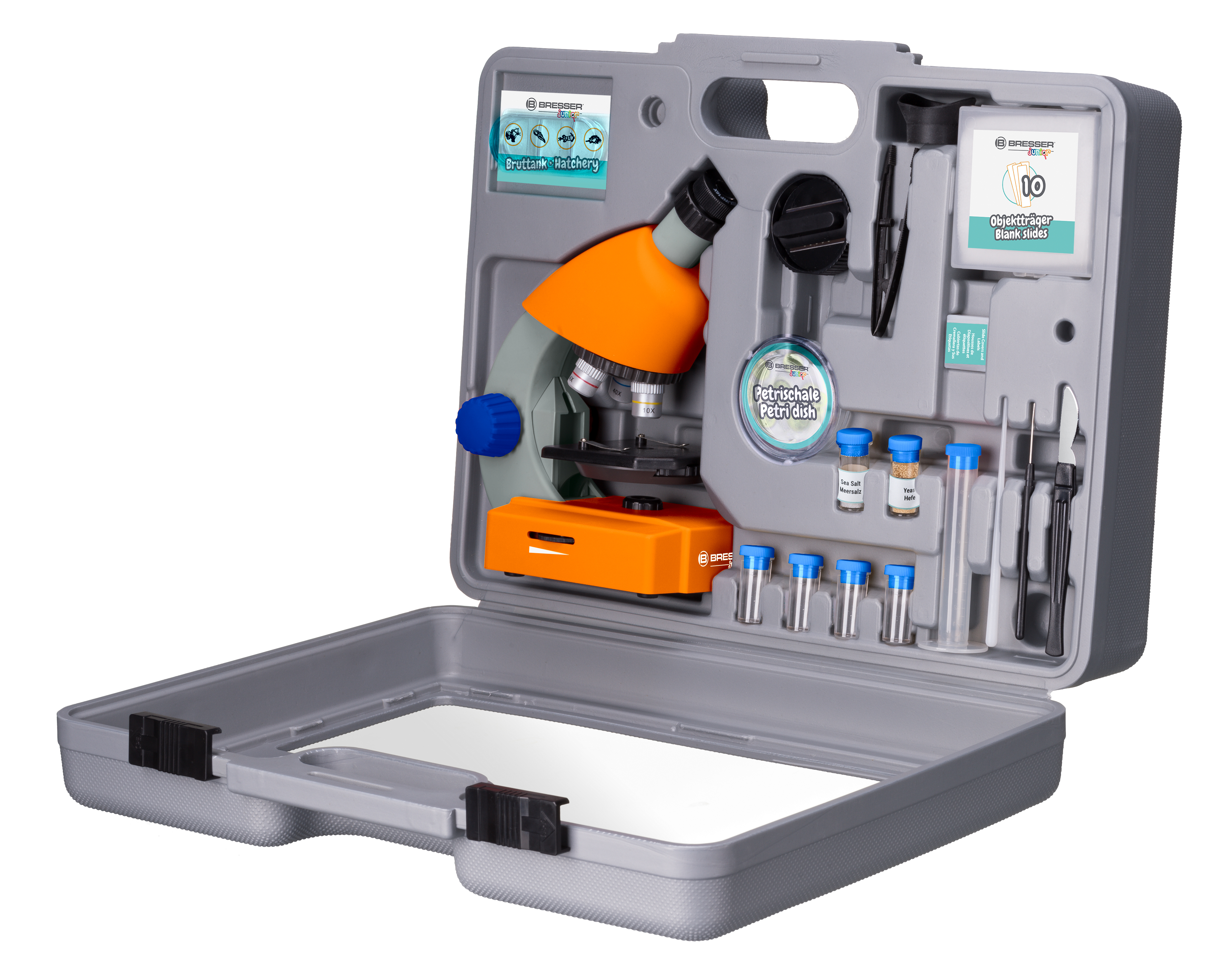 Bresser junior 40x 640x microscope with accessories and hard case