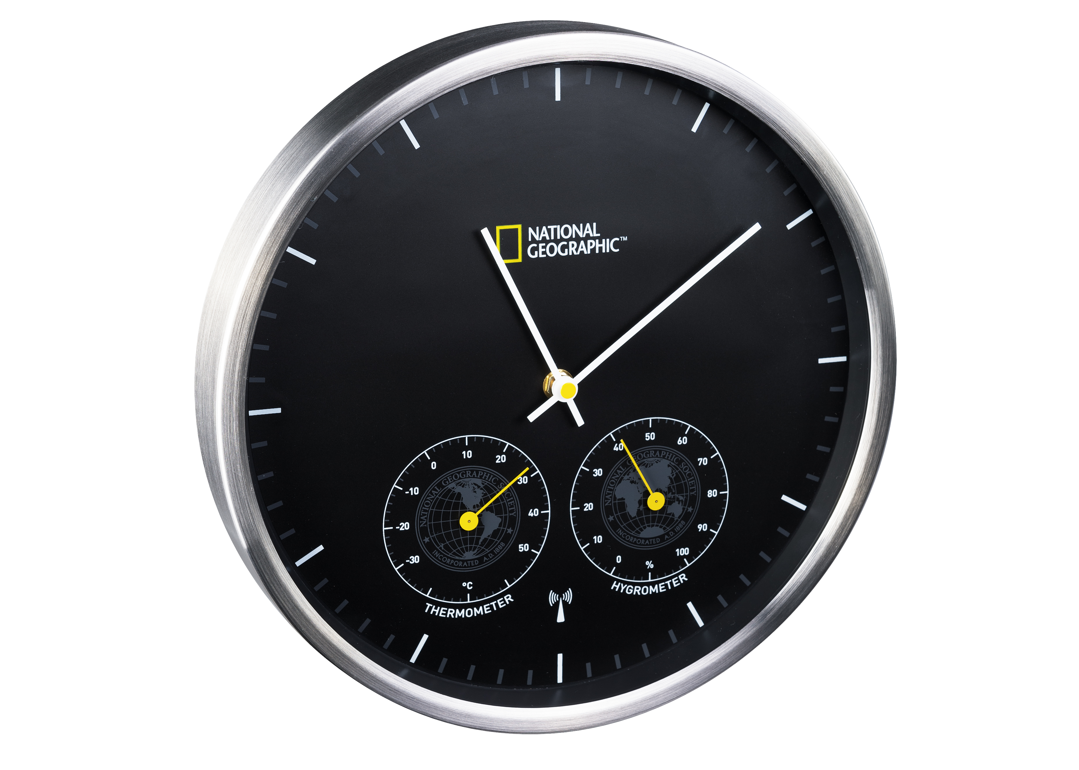 national geographic wanduhr mit thermometer hygrometer bresser. Black Bedroom Furniture Sets. Home Design Ideas