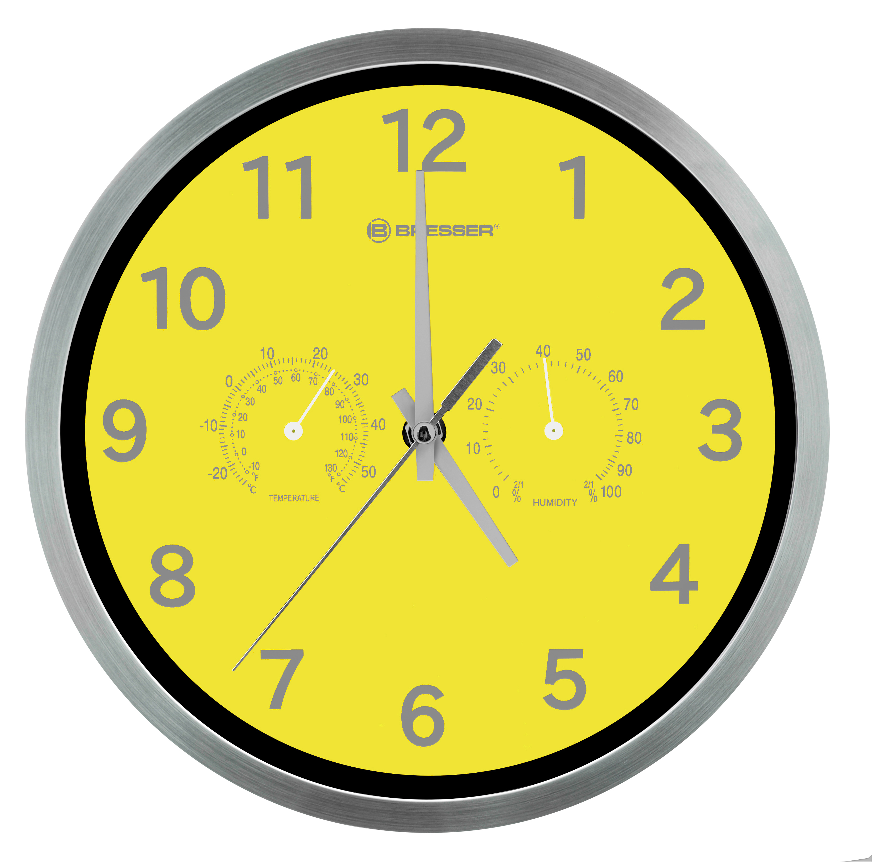 Bresser Mytime Thermo Hygro Wall Clock 25cm Yellow
